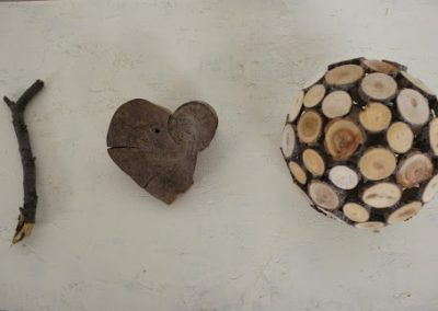 """""""I heart earth"""", 2014, <p>Found wood from the recent, unseasonably early devastating storm in Calgary mixed with Found wood from a clear-cut site found while tree planting years ago</p>"""