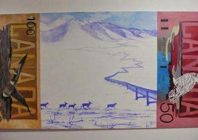 <i>The Price of Money</i> 4'x8'. Acrylic on Board