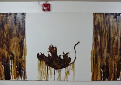 The Fall of Canada 4'x8', Tar on Board