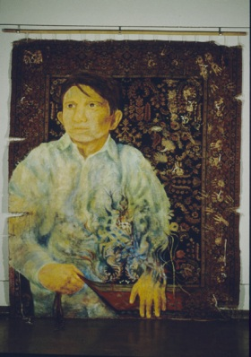 <i>Labour Ties; the Life of Iqbal Masih</i>, 1998, Oil on carpet, 8' x 12'<p>On exhibit in Concordia University Fine Arts Building Main Foyer, 1996 <p><p>Exhibited with <i>Stolen Dreams</i>, a traveling show of photographs by David L. Parker for his book of the same title about Child Labour in the World, along with my work <i>Knot Again</i>.  The exhibition tour included The Museum of Civilization, Hull, Quebec, Spring, 2001, Hamilton, Ontario, Winnipeg Art Gallery, Winnipeg, Manitoba, Red Deer Art Museum, Red Deer, Alberta.<p><p>Chateau Laurier Hotel, Ottawa, Ontario, Canada<p><p>International Labour Congress, Geneva, Switzerland<p><p>Convention Centre, Toronto, Ontario, for The Canadian Auto Workers Annual General Meeting, April 1999.