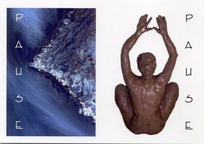 <i>Balasana, child pose</i>, Invitation card for <i>Pause</i>, an exhibition of photos by Ania Kowalewska and of sculptures by Meghan Lewick, at Alliance Francaise, The Memorial Library Building, Calgary, Alberta, 2005
