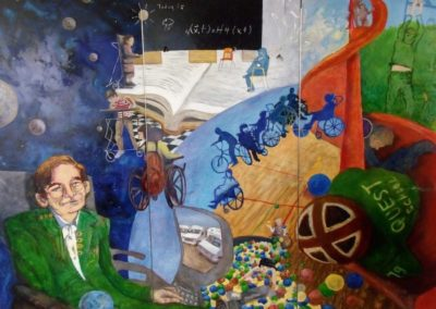 Mural commissioned by Quest School, Calgary, acrylic on door panels, 9' x 7', 2006