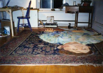<i>Labour Ties; the Life of Iqbal Masih</i>, 1996, Oil on carpet, 8' x 12', in progress on studio floor