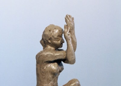 "<i>Garuda Asana variation, Eagle seated</i>, clay, 8"" x 6"" x 5"", 2005"