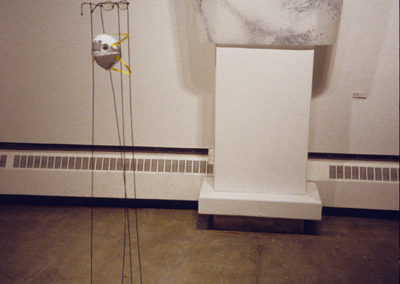 <Intake Filters</i>, 2001, Found objects, wire, ink on velum, Installation:  4' x 9' x 5', Little Gallery, U of C, Alberta