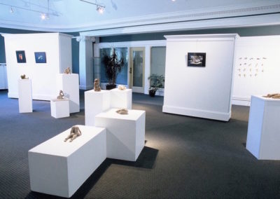 Exhibition view: <i>Pause</i>, Installation at Salon de l'Alliance Francaise, Memorial Library Building, Calgary, Alberta; photographs by Ania Kowalewska and sculptures by Meghan Lewick, 2005