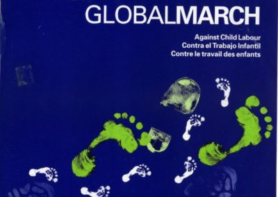 Poster created by the Canadian Labour Congress for the Global March Against Child Labour, 1998, The global march against child labor came about in 1998, following the significant response concerning the desire to end child labor. It was a grassroot movement that motivated many individuals and organizations to come together and fight against child labor and not an annual march. Wikipedia
