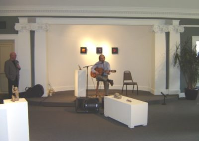 Opening Night Art Event, Michel Charron, Radio Canada host, on guitar