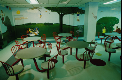 Mural: <i>Outside in to take those inside, out</i><p>Montreal Children's Hospital, Montreal, Quebec, 1997