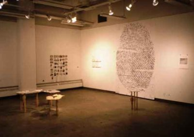 <i>What Is Our Mark on the Earth?</i>,  Solo show:  Little Gallery, U of C, Calgary, Alberta, Canada, 2002