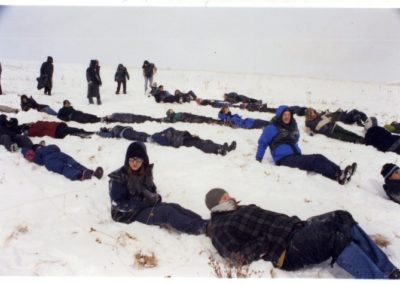 """Participants at Eco-Art Event, <i>""""What is Our Human Mark on the Earth?"""", Nose Hill Park, Calgary, Alberta, Canada, 2002"""