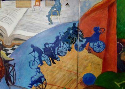 DETAIL:  Mural at Quest School, Calgary, acrylic on door panels, 9' x 7', 2006