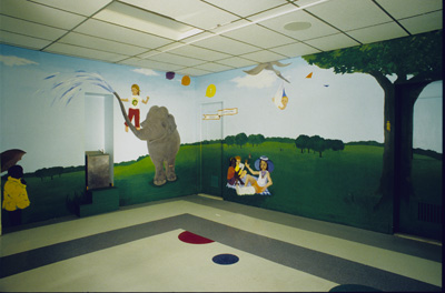 DETAIL:  Mural: <i>Outside in to take those inside, out</i><p>Montreal Children's Hospital, Montreal, Quebec, 1997