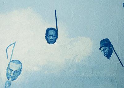 DETAIL:  <i>Joies de livres</i>, 1996, mural, acrylic on wall, 20' x 12' x 3', including portraits of John Coltrane, Thelonious Monk, Ella Fitzgerald, Charles Papasoff