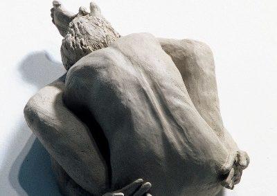 """<i>Kūrmāsana, Turtle pose</i>, clay, 8"""" x 6"""" x 4"""", 2005"""