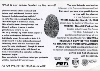 """Invitation postcard to <i>""""What Is Our Human Mark on the Earth? """"</i>,  a Public Happening/ Environmental demonstration event at Nose hill Park, Calgary, Alberta, Canada, 2002"""