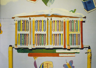 DETAIL:  <i>Joies de livres</i>, 1996, mural, acrylic on wall, 20' x 12' x 3'