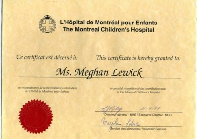Certificate of thanks from the Montreal Children's Hospital