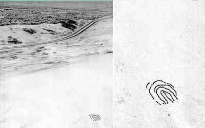 """Aerial photo from helicopter of formation of human fingerprint, in Art Happening/ Environmental Event at Nose hill Park: <i>""""What Is Our Mark on the Earth?""""</i> Calgary, Alberta, Canada, 2002"""