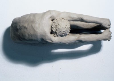 "<i>Paschimothanasana, Forward bend </i>(top view), clay, 8"" x 3"" x 5"", 2005"