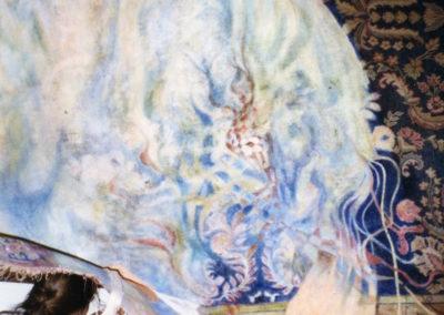 <i>Labour Ties; the Life of Iqbal Masih</i>, 1996, Oil on carpet, 8' x 12', in progress on studio wall