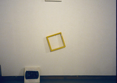 """DETAIL <i>""""Off the Wall""""</i>, Found objects, cans, oil on canvas, from <i>Transforming Matters</i>, Solo show; The Little Gallery, University of Calgary, Faculty of Fine Arts, Calgary, Alberta, Canada, 2002"""