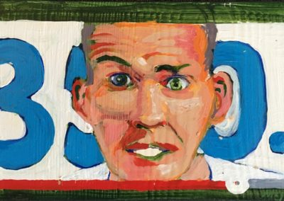 "<i>BILL MCKIBBEN:  Driven by 350.org </i>, 2014, acrylic on board, 5"" x 6"" <p>Bill McKibben is an American environmentalist, writer and activist who has written extensively on the impact of global warming and climate change.  He started the group 350.org which has now become a world movement for people to become informed about and protest against the effects of global warming.  <p><p>He says, ""The number 350 means climate safety: to preserve a livable planet, scientists tell us we must reduce the amount of CO2 in the atmosphere from its current level of 400 parts per million to below 350 ppm.  <p><p>""We believe that a global grassroots movement can hold our leaders accountable to the realities of science and the principles of justice. That movement is rising from the bottom up all over the world, and is uniting to create the solutions that will ensure a better future for all.""  <p><p>""There is an urgent need to stop subsidizing the fossil fuel industry, dramatically reduce wasted energy, and significantly shift our power supplies from oil, coal, and natural gas to wind, solar, geothermal, and other renewable energy sources.""  ― Bill McKibben, The Global Warming Reader: A Century of Writing about Climate Change"