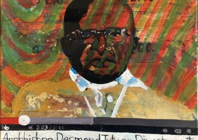 "<i>ARCHBISHOP DESMOND TUTU:  Offers the Strategy of Divestment</i>, 2014, acrylic on canvas, 14""x18""<p><p>Archbishop Desmond Tutu is a South African social rights activist who opposed apartheid.  He won, among many others, the Nobel Peace Prize in 1984.  <p><p>CBC REPORTS:  South African archbishop in Fort McMurray for a two-day conference on oil-sands development The Canadian Press Posted: May 31, 2014  <p><p>""The fact that this filth is being created now, when the link between carbon emissions and global warming is so obvious, reflects negligence and greed,"" Tutu told more than 200 attendees at a conference on oil-sands development and treaty rights in Fort McMurray.  <p><p>""The oilsands are emblematic of an era of high carbon and high-risk fuels that must end if we are committed to a safer climate.""  <p><p>""Oilsands development not only devastates our shared climate, it is also stripping away the rights of First Nations and affected communities to protect their children, land and water from being poisoned."""