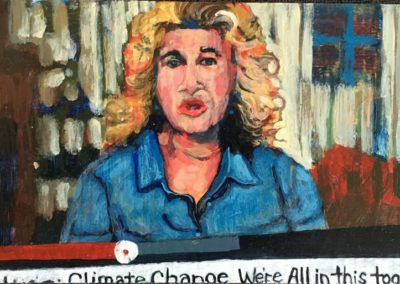 "<i>CAROL KING:  Speaks</i>, 2014, acrylic on board, 6"" X 9""<p><p> Carol King is a American singer, composer and environmentalist.  She is working and speaking out to protect wilderness, and specifically the Northern Rocky Mountain System.  Her efforts have helped raise more than $1.5 million for environmental groups.  <P><P>She says, ""We all share the environment. The earth, water, air and trees are what sustains and connects us all.""  ""If you care about the environment, let your elected representatives know your concerns. The only way to overcome apathy and big money interests that want things that aren't good for you or the environment is to TAKE ACTION.""</p>"