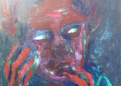 "<i>Terror<p><p><p>Girl without dark glasses</i>, 2019, acrylic on board, 6"" x 6""<P> Exhibited at Marda Loop Justice Film Festival justREEL showing of film <i> Breaking the Cycle </i>"