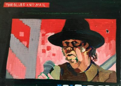 "<i>NEIL YOUNG:  Sings and writes to take a stand </i> , 2014, Acrylic on Board   Neil Young is a Canadian singer/songwriter and musician and concerned environmentalist.  He takes a stand in his music and wonders who is going to advocate for the earth's resources in his song 'Who's going to Stand Up?'.    http://neilyoung.warnerreprise.com/storytone/  He sings, ""Protect the wild, tomorrow's child, Protect the land from the greed of man, Stand up to oil, Renew the soil, Who's going to stand up and save the Earth?  Who's going to say that she's had enough?  Who's going to take on the big machine?  This all starts with you and me.  End fossil fuel. Draw the line Before we build one more pipeline.  End fracking now. Save the earth for our sons and daughters.  Damn the dams, Save the Rivers, Starve the takers and feed the givers.  This all starts with you and me."""