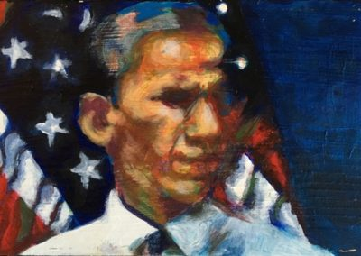 "<i>BARACK OBAMA:  Speaks</i>, 2014, acrylic on board, 6"" x 9""   <p><p>Barack Obama is the 44th president of the United States.   In July 2013, Obama expressed reservations and stated he ""would reject the Keystone XL pipeline if it increased carbon pollution"" or ""greenhouse emissions"".  Obama's advisers called for a halt to petroleum exploration in the Arctic in January 2013.  On February 24, 2015, Obama vetoed a bill that would authorize the pipeline.   <p><p>He says, ""That bright blue ball rising over the moon's surface, containing everything we hold dear – the laughter of children, a quiet sunrise, all the hopes and dreams of posterity – that's what's at stake. That's what we're fighting for. And if we remember that, I'm absolutely sure we'll succeed.""  President Barack Obama, June 25, 2013, https://www.whitehouse.gov/energy   <p><p>The United States is leading global efforts to address the threat of climate change. Wind power has tripled, and energy from the sun has increased tenfold. U.S. carbon emissions have fallen by 10 percent from 2007 to 2013 – the largest absolute emissions reduction of any country in the world.   https://www.whitehouse.gov/climate-change"