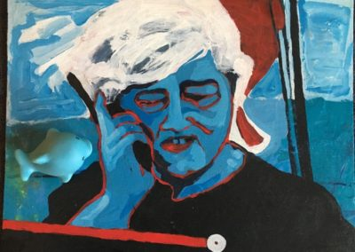 "<i>PAUL WATSON: Saving the whales, whatever it takes</i>, 2014, acrylic on board and found plastic object, 14"" x 18""<p><p>Paul Watson is a Canadian environmentalist and one of the founders of Green Peace.  As well, he is the founder of Sea Shepherd Conservation Society where he fights for animal rights.  <p><p>He says, ""All social change comes from the passion and intervention of individuals or small groups of individuals.""   <p><p>""Slavery wasn't ended by any government or any institution. Women got the right to vote not because of any government. The civil rights movement, the same thing. India with Mahatma Gandhi, South Africa with Nelson Mandela. Again, it's always individuals. You need those individuals with the passion and the energy to get involved. In fact, I don't know of any government or any institutions that are doing anything to solve any of these problems. All over the world, all I am seeing is individuals and non-government organizations that are passionately involved in protecting ecosystems and species, and that's where I see some optimism. That's where I see results are happening."""