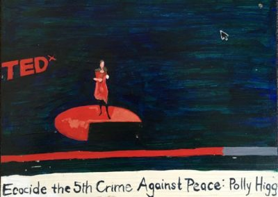 "<i>POLLY HIGGINS: Speaking to Lay Out a Law</i> , 2014, acrylic on board, 12"" x 16""  <p><p>Polly Higgins is a lawyer from England who proposed the law of Ecocide to the United Nations. Her law of Ecocide addresses the core issue of today: ensuring the welfare of both people and planet.  The term ecocide refers to any extensive damage or destruction of the natural landscape and the loss of ecosystems and where the survival of the inhabitants of that territory is endangered.  Connected to this research her current focus of enquiry is on leadership crime, closing the door to dangerous industrial activity and creating a legal duty of care.  <p><p>She says, ""I've set myself a quest – to dare to be great. For me that means being in service to something greater than the self. I believe we all have the capacity for greatness – and that to end the era of Ecocide requires the greatness of humans to stand up and say 'enough' to all that is causing mass damage and destruction in this world."""