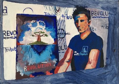 "<i>ROB STEWART: Films Climate Realities and Changes</i>,  2014, acrylic on board, 6"" x 9""<p><p>  Rob Stewart is a Canadian photographer and film maker.  He made the films ""Sharkwater"" and ""Revolution"".  He describes, about being MC for an Environment rally in Ottawa, <p><p>""So I was painted green and throwing my fists in the air saying, 'We don't just need environmental policy and Priuses - we need a Revolution!""  <p><p>He says, while shooting his film, ""We found it was the kids who have to fight for their future.  Adults are already entrenched in the system.  But kids don't rationalize their way around these [environmental] problems.  They say, "" Okay, we've got to protect our life support system, let's do it.""    <p><p>""We need to put a price tag on carbon emissions, and eliminate government subsidies for coal, gas, and oil companies. We need to end the free ride that industrial polluters have been given in the name of a free-market economy, they don't deserve our tax dollars, they deserve our scrutiny. For the economy itself will die if our ecosystems collapse."""