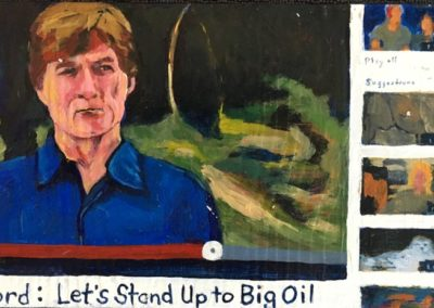 "<i>ROBERT REDFORD: As all my Eco Heroes, On-Line, Yet Close-To-Home</i>, 2015, acrylic on board, 5"" x 6""  <p><p>Robert Redford is an American actor, film director, producer, businessman, environmentalist, philanthropist, and a founder of the Sundance Film Festival.  He says, ""I think the environment should be put in the category of our national security.  Defense of our resources is just as important as defense of abroad.  Otherwise what is there to defend?"""