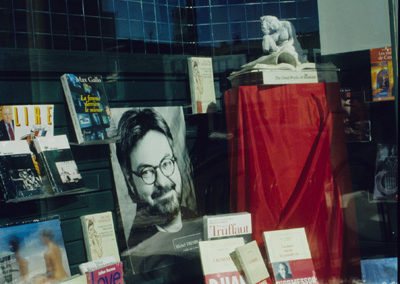 """<i>The Thinkher</i>, 1997 , paper and found objects, 14"""" x 10"""" x 16"""", Women Artists of Mile End Annual Exhibition, Montreal, Parc Ave Shop window view, 1998"""