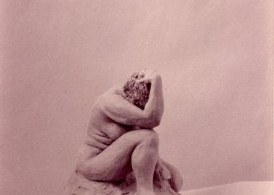 "<i>The Thinkher;<p><p>""All art is political.""    Corrine Cory</i><p><p> 1997 , clay, 12"" x 8"" x 10"""